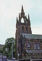 "Glasgow: Kelvin Stevenson Memorial Church, 1898. Architect J.J. Stevenson. Belmont St. ""The open crown, a Scottish feature, modeled on King's College Chapel, Aberdeen.""  Photo '90."