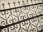 Fence and gate shadow in the cemetery, Austin, Nev.