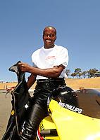 Jul. 17, 2010; Sonoma, CA, USA; NHRA pro stock motorcycle rider Michael Phillips during qualifying for the Fram Autolite Nationals at Infineon Raceway. Mandatory Credit: Mark J. Rebilas-