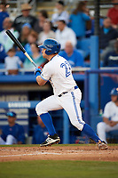 Dunedin Blue Jays left fielder Connor Panas (27) follows through on a swing during a game against the Clearwater Threshers on April 8, 2017 at Florida Auto Exchange Stadium in Dunedin, Florida.  Dunedin defeated Clearwater 12-6.  (Mike Janes/Four Seam Images)