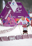 Sochi, RUSSIA - Mar 9 2014 -  Christopher Klebl in Men's Cross Country 15km Sitting during the 2014 Paralympic Winter Games in Sochi, Russia.  (Photo: Matthew Murnaghan/Canadian Paralympic Committee)