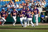 Clemson prepares for Game 14 of the NCAA Division One Men's College World Series on June 26th, 2010 at Johnny Rosenblatt Stadium in Omaha, Nebraska.  (Photo by Andrew Woolley / Four Seam Images)