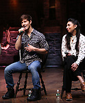 """Thayne Jasperson and Lauren Boyd during the Q & A before The Rockefeller Foundation and The Gilder Lehrman Institute of American History sponsored High School student #EduHam matinee performance of """"Hamilton"""" at the Richard Rodgers Theatre on 5/22/2019 in New York City."""