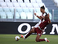 Calcio, Serie A: Juventus - Torino, Turin, Allianz Stadium, July 4, 2020.<br /> Juventus' Cristiano Ronaldol (r) in action with Torino's Koffi Djidji (l) during the Italian Serie A football match between Juventus and Torino at the Allianz stadium in Turin, July 4, 2020.<br /> UPDATE IMAGES PRESS/Isabella Bonotto
