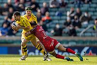22nd May 2021; Twickenham, London, England; European Rugby Champions Cup Final, La Rochelle versus Toulouse; Dillyn Leyds of La Rochelle is tackled by Matthis Lebel of Toulouse