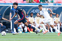 DENVER, CO - JUNE 3: Weston McKennie #8 of the United States move with the ball during a game between Honduras and USMNT at EMPOWER FIELD AT MILE HIGH on June 3, 2021 in Denver, Colorado.