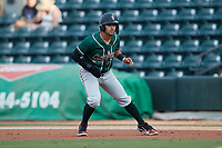 Nick Gonzales (2) of the Greensboro Grasshoppers takes his lead off of first base against the Winston-Salem Dash at Truist Stadium on August 13, 2021 in Winston-Salem, North Carolina. (Brian Westerholt/Four Seam Images)