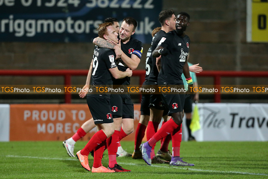 O's goalscorer Danny Johnson (left) with Josh coulson celebratesduring Morecambe vs Leyton Orient, Sky Bet EFL League 2 Football at the Globe Arena on 15th December 2020
