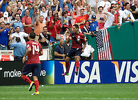 Clint Dempsey (8) of the USMNT celebrates his goal during the game at RFK Stadium in Washington, DC.  The USMNT defeated Jamaica, 2-0.