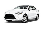 Stock pictures of low aggressive front three quarter view of 2016 Scion iA 4 Door Sedan Low Aggressive