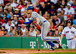 22 June 2019: Toronto Blue Jays second baseman Cavan Biggio singles in the 7th inning against the Boston Red Sox at Fenway :Park in Boston, MA. The Blue Jays rallied to defeat the Red Sox 8-7 in the 2nd game of their 3-game series. Mandatory Credit: Ed Wolfstein Photo *** RAW (NEF) Image File Available ***