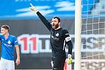 20.02.2021, xtgx, Fussball 3. Liga, FC Hansa Rostock - SV Waldhof Mannheim, v.l. Markus Kolke (Hansa Rostock, 1) gibt Anweisungen, gestikuliert mit den Armen, gesticulate, gives instructions <br /> <br /> (DFL/DFB REGULATIONS PROHIBIT ANY USE OF PHOTOGRAPHS as IMAGE SEQUENCES and/or QUASI-VIDEO)<br /> <br /> Foto © PIX-Sportfotos *** Foto ist honorarpflichtig! *** Auf Anfrage in hoeherer Qualitaet/Aufloesung. Belegexemplar erbeten. Veroeffentlichung ausschliesslich fuer journalistisch-publizistische Zwecke. For editorial use only.