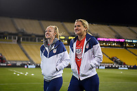 COLUMBUS, OH - NOVEMBER 07: Becky Sauerbrunn #4 and Lindsey Horan #9 of the United States take a walk around MAPFRE Stadium during a game between Sweden and USWNT at MAPFRE Stadium on November 07, 2019 in Columbus, Ohio.
