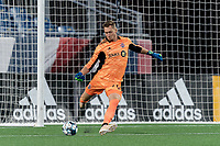 FOXBOROUGH, MA - JULY 23: Andreas Vaikla #70 of Toronto FC II takes a goal kick during a game between Toronto FC II and New England Revolution II at Gillette Stadium on July 23, 2021 in Foxborough, Massachusetts.