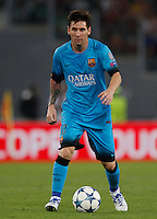 Calcio, Champions League, Gruppo E: Roma vs Barcellona. Roma, stadio Olimpico, 16 settembre 2015.<br /> FC Barcelona's Lionel Messi in action during a Champions League, Group E football match between Roma and FC Barcelona, at Rome's Olympic stadium, 16 September 2015.<br /> UPDATE IMAGES PRESS/Riccardo De Luca<br /> <br /> *** ITALY AND GERMANY OUT ***