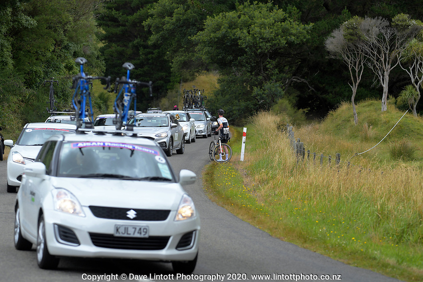 Karl Poole (New Zealand/NZ Cycling Project) waits for assistance on day one of the NZ Cycle Classic UCI Oceania Tour in Wairarapa, New Zealand on Wednesday, 15 January 2020. Photo: Dave Lintott / lintottphoto.co.nz