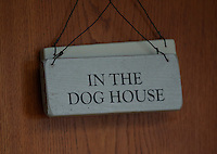 FAO JANET TOMLINSON, DAILY MAIL PICTURE DESK<br /> Pictured: A sign on the farmhouse door Wednesday 23 November 2016<br /> Re: The Dog House in the village of Talog, Carmarthenshire, Wales, UK