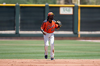 San Francisco Giants Orange second baseman Alen Hanson (22) prepares to field a ground ball in a rehab appearance during an Extended Spring Training game against the Seattle Mariners at the San Francisco Giants Training Complex on May 28, 2018 in Scottsdale, Arizona. (Zachary Lucy/Four Seam Images)