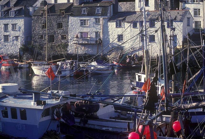 Fishing boats moored in the harbor, Polperro, Cornwall, England, UK