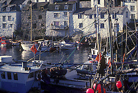 Fishing boats moored in the harbor, Polperro, Cornwall, England, UK