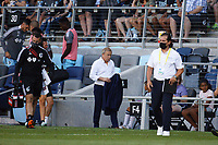 ST PAUL, MN - AUGUST 14: Minnesota United FC head coach Adrian Heath heads toward the tunnel at halftime during a game between Los Angeles Galaxy and Minnesota United FC at Allianz Field on August 14, 2021 in St Paul, Minnesota.