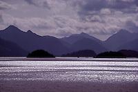 Haida Gwaii (Queen Charlotte Islands), Northern BC, British Columbia, Canada - Coastline of Skidegate Inlet in Fog, near Graham Island