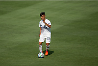 LOS ANGELES, CA - AUGUST 22: Efrain Alvarez #26 of the Los Angeles Galaxy moves with the ball during a game between Los Angeles Galaxy and Los Angeles FC at Banc of California Stadium on August 22, 2020 in Los Angeles, California.