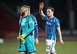 St Johnstone v Inverness Caley Thistle…09.03.16  SPFL McDiarmid Park, Perth<br />Goalscorer Chris Kane waves to the crowd at full time<br />Picture by Graeme Hart.<br />Copyright Perthshire Picture Agency<br />Tel: 01738 623350  Mobile: 07990 594431