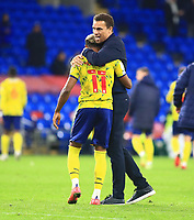 28th September 2021; Cardiff City Stadium, Cardiff, Wales;  EFL Championship football, Cardiff versus West Bromwich Albion; Valerien Ismael, Manager of West Bromwich Albion celebrates with Grady Diangana of West Bromwich Albion after the 0-4 win