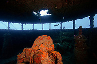 wreck, Japanese warship at World War II, Chichi-jima, Bonin Islands, Ogasawara, Tokyo, Japan, Pacific Ocean
