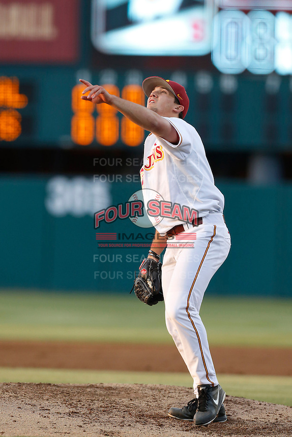Sean Silva #31 of the USC Trojans pitches against the Stanford Cardinal at Dedeaux Field on April 5, 2013 in Los Angeles, California. (Larry Goren/Four Seam Images)