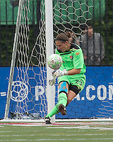 Sky Blue FC goalkeeper Jenni Branam (23). In a Womens Professional Soccer (WPS) match, the Boston Breakers defeated Sky Blue FC, 2-0, at Harvard Stadium on August 14, 2011 and gained the last playoff slot.