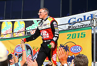 Feb 8, 2015; Pomona, CA, USA; NHRA top fuel driver Doug Kalitta during the Winternationals at Auto Club Raceway at Pomona. Mandatory Credit: Mark J. Rebilas-