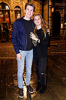 Pictured: Chris Williams (L) who proposed to his girlfriend Beth Marchant in Wind Street, Swansea. Sunday 31 December 2017 and 01 January 2018<br /> Re: New Year revellers in Wind Street, Swansea, Wales, UK