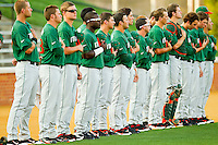 The Miami Hurricanes line up during the National Anthem prior to taking on the Wake Forest Demon Deacons at Gene Hooks Field on March 18, 2011 in Winston-Salem, North Carolina.  Photo by Brian Westerholt / Four Seam Images