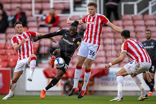 31st October 2020; Bet365 Stadium, Stoke, Staffordshire, England; English Football League Championship Football, Stoke City versus Rotherham United; Freddie Ladapo of Rotherham United under pressure from Harry Souttar and Danny Batth of Stoke City