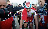race winner Alexander Kristoff (NOR/Katusha) escorted to the podium after his win<br /> <br /> 99th Ronde van Vlaanderen 2015