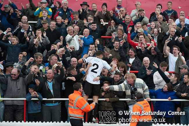 Ebbsfleet 0 Dover Athletic 1, 23/08.2014. Stonebridge Road, Conference South play-off final. The Skrill South play-off final between Ebbsfleet and Dover Athletic from Stonebridge Road. Fans and players celebrate securing promotion to the Conference Premier.  Photo by Simon Gill.