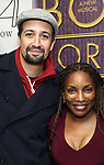 """Lin-Manuel Miranda and Stephanie Mills backstage after a Song preview performance of the Bebe Winans Broadway Bound Musical """"Born For This"""" at Feinstein's 54 Below on November 5, 2018 in New York City."""
