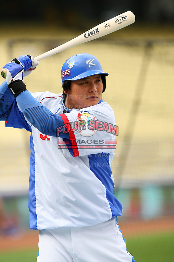 Tae Kyun Kim of Korea during a game against Venezuela at the World Baseball Classic at Dodger Stadium on March 21, 2009 in Los Angeles, California. (Larry Goren/Four Seam Images)
