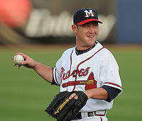 9 April 2008: Infielder Matt Young (6) of the Mississippi Braves, Class AA affiliate of the Atlanta Braves, in the season's home opener against the Mobile BayBears at Trustmark Park in Pearl, Miss. Photo by:  Tom Priddy/Four Seam Images