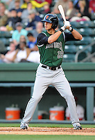 Outfielder Michael Mergenthaler (28) of the Augusta GreenJackets, a San Francisco Giants affiliate, in a game against the Greenville Drive on April 19, 2012, at Fluor Field at the West End in Greenville, South Carolina. (Tom Priddy/Four Seam Images)