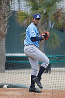 Wilmington Blue Rocks pitcher Emilio Ogando (38) throwing in the bullpen before a game against the Myrtle Beach Pelicans at Ticketreturn Field at Pelicans Ballpark on April 25, 2017 in Myrtle Beach, South Carolina. Myrtle Beach defeated Wilmington 7-6. (Robert Gurganus/Four Seam Images)
