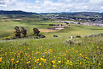 From on top of the mountain looking down at the roping arena, barn and ranch houses. San Luis Obispo, California