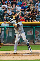 Leury Bonilla (3) of the Tacoma Rainiers at bat against the Salt Lake Bees in Pacific Coast League action at Smith's Ballpark on August 31, 2015 in Salt Lake City, Utah. Salt Lake defeated Tacoma 6-5.  (Stephen Smith/Four Seam Images)