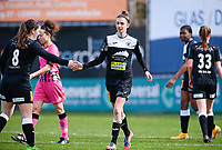 Justine Blave (22) of Eendracht Aalst pictured celebrating with teammates after scoring a goal during a female soccer game between Eendracht Aalst and Sporting Charleroi on the 18 th and last matchday before the play offs of the 2020 - 2021 season of Belgian Scooore Womens Super League , Saturday 27 th of March 2021  in Aalst , Belgium . PHOTO SPORTPIX.BE | SPP | DAVID CATRY