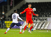 12th November 2020; Liberty Stadium, Swansea, Glamorgan, Wales; International Football Friendly; Wales versus United States of America; Kieffer Moore of Wales controls the ball while under pressure from Yunus Musah of USA