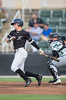 Mitch Roman (10) of the Kannapolis Intimidators follows through on his swing against the Augusta GreenJackets at Kannapolis Intimidators Stadium on May 3, 2017 in Kannapolis, North Carolina.  The Intimidators defeated the GreenJackets 7-4.  (Brian Westerholt/Four Seam Images)