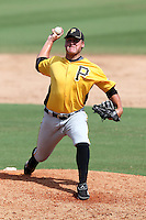 Pittsburgh Pirates pitcher Stetson Allie #52 during an Instructional League game against the Philadelphia Phillies at Bright House Field on October 13, 2011 in Clearwater, Florida.  (Mike Janes/Four Seam Images)