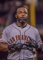 6 August 2016: San Francisco Giants center fielder Denard Span stands in the dugout during a game against the Washington Nationals at Nationals Park in Washington, DC. The Giants defeated the Nationals 7-1 to even their series at one game apiece. Mandatory Credit: Ed Wolfstein Photo *** RAW (NEF) Image File Available ***